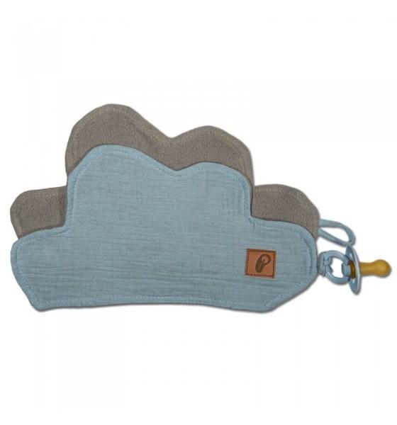 Hi Little One przytulanka dou dou z zawieszką z organicznej BIO bawełny GOTS Cloud Baby Blue
