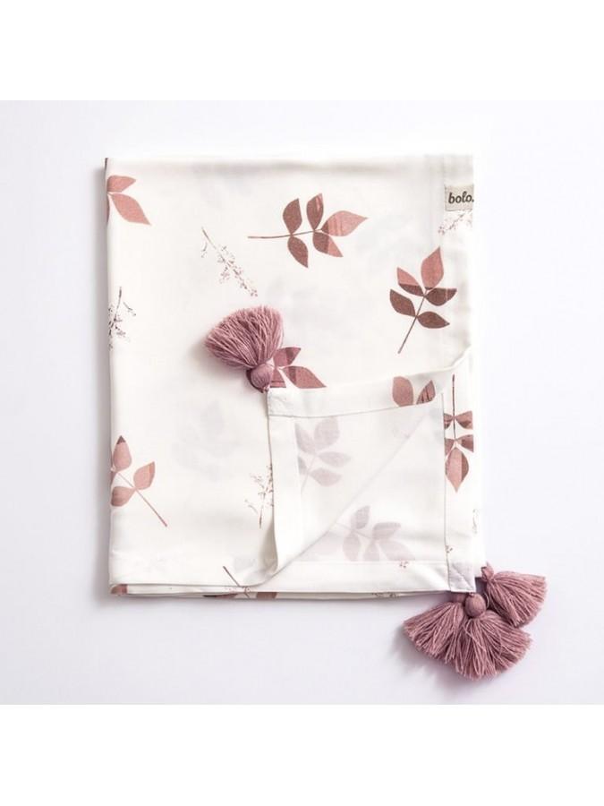Bolo bambusowy kocyk otulacz 80x100 dirty pink leaves