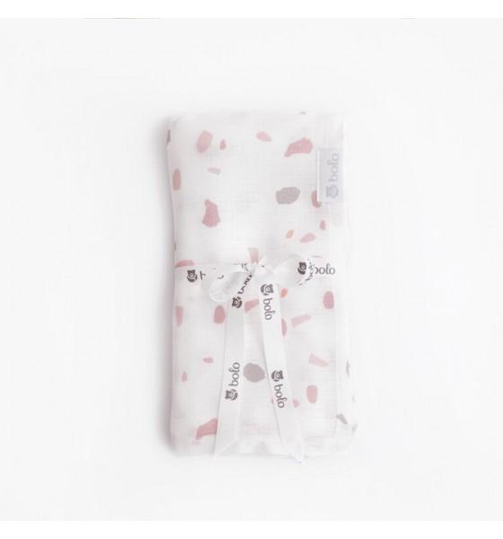 Bolo otulacz pieluszka muślinowa 100x100cm różowe lastryko
