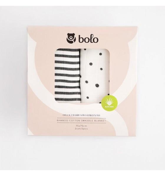 Bolo 2pak otulaczy bambusowo bawełnianych z aloesem 75x75cm grafitowy
