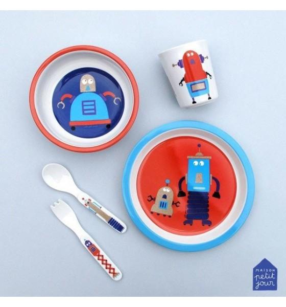 Maison Petit Jour zestaw naczyń i sztućców dla dziecka Roboty