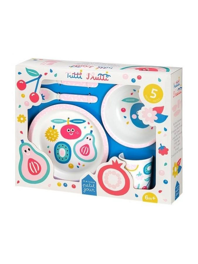 Maison Petit Jour zestaw naczyń i sztućców dla dziecka Tutti Frutti