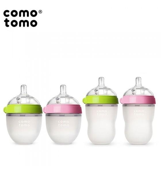 Comotomo antykolkowa butelka silikonowa Moms Breast 150 ml Pink Newborn