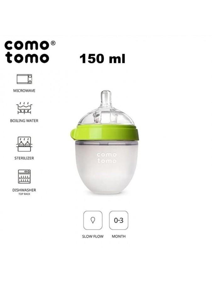 Comotomo antykolkowa butelka silikonowa Moms Breast 150 ml Green Newborn