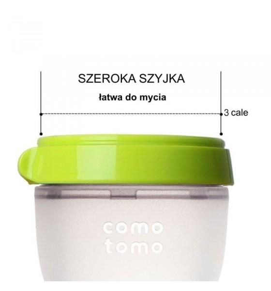 Comotomo antykolkowa butelka silikonowa Moms Breast 250 ml Green Baby