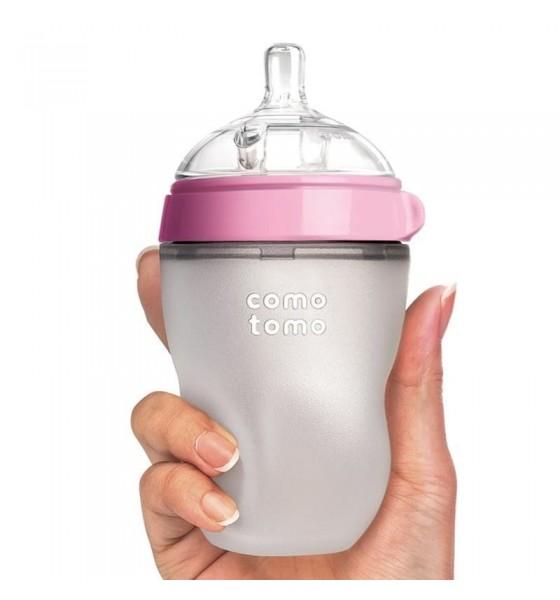 Comotomo 2 antykolkowe butelki silikonowe Moms Breast 250 ml Pink BABY 2 pack