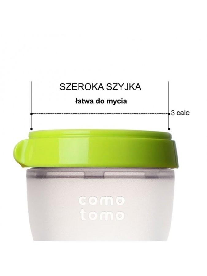 Comotomo 2 antykolkowe butelki silikonowe Moms Breast 150 ml Green Newborn 2 pack