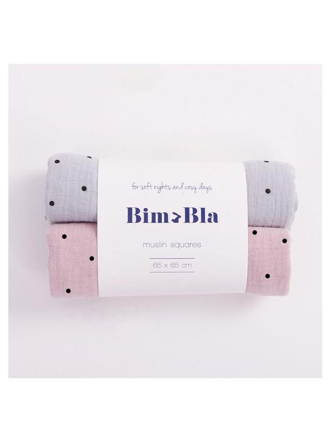 BimBla zestaw pieluszek muślinowych Dots szaro różowy