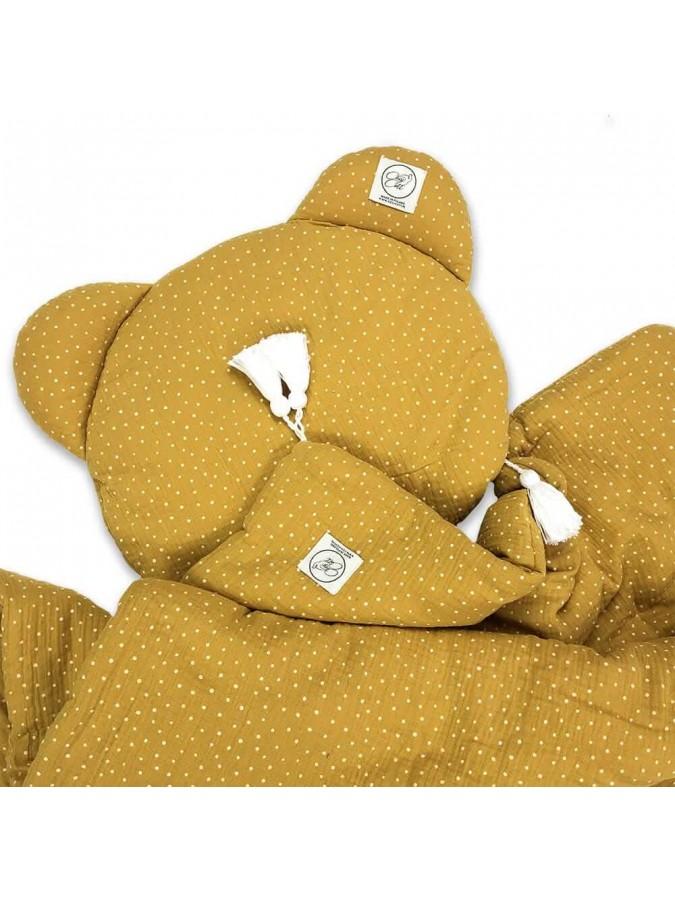Cosy Cott pościel dziecięca muślin musztardowy w kropki