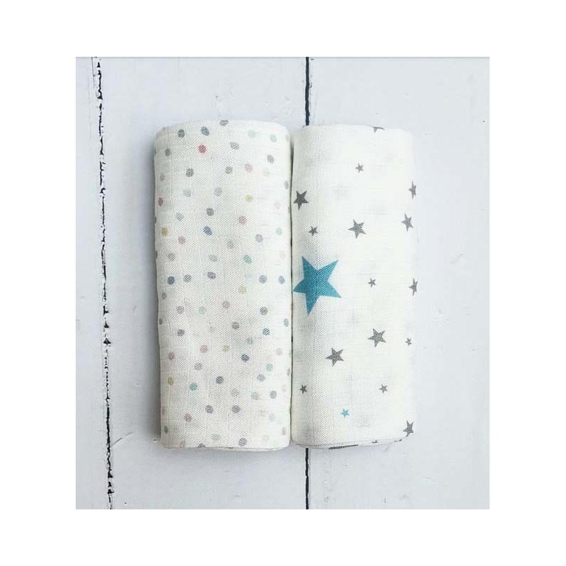 Pink No More pieluszki muślinowo bambusowe STARS BLUE DOTS