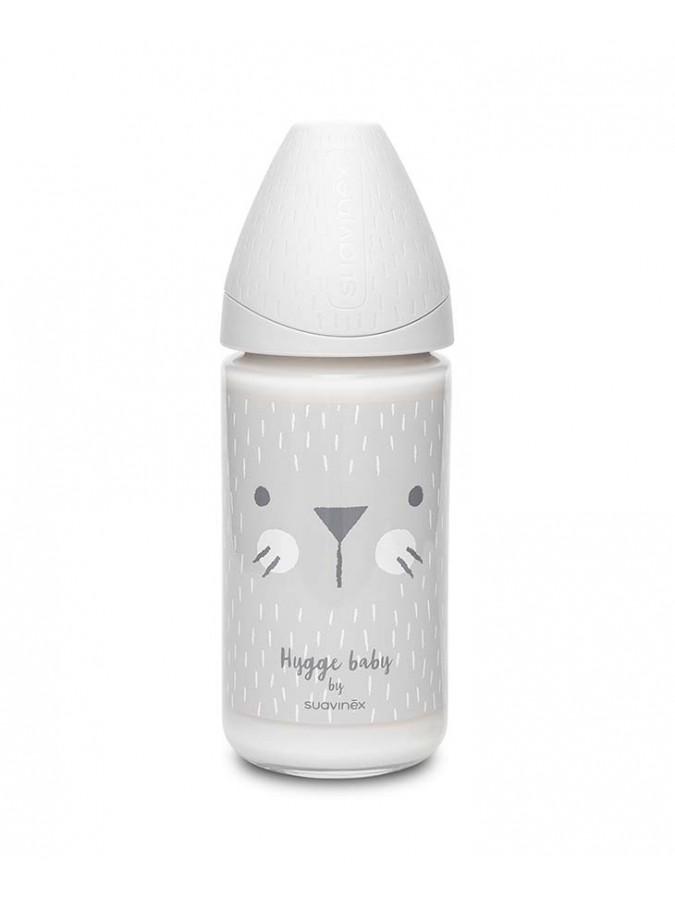 Suavinex butelka szklana Hygge Baby 240 ml kotek szary