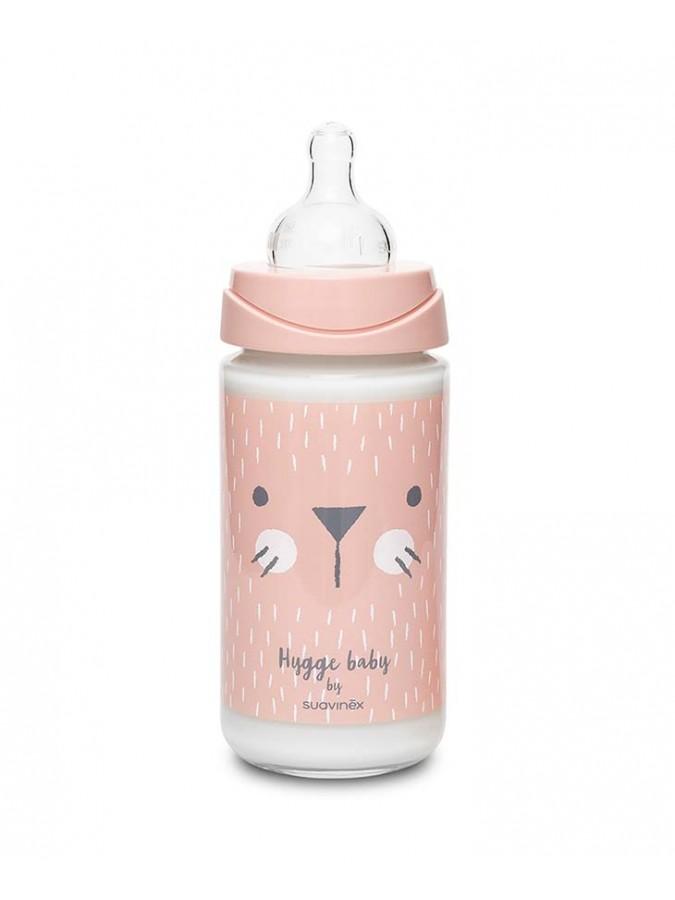 Suavinex butelka szklana Hygge Baby 240 ml kotek różowy