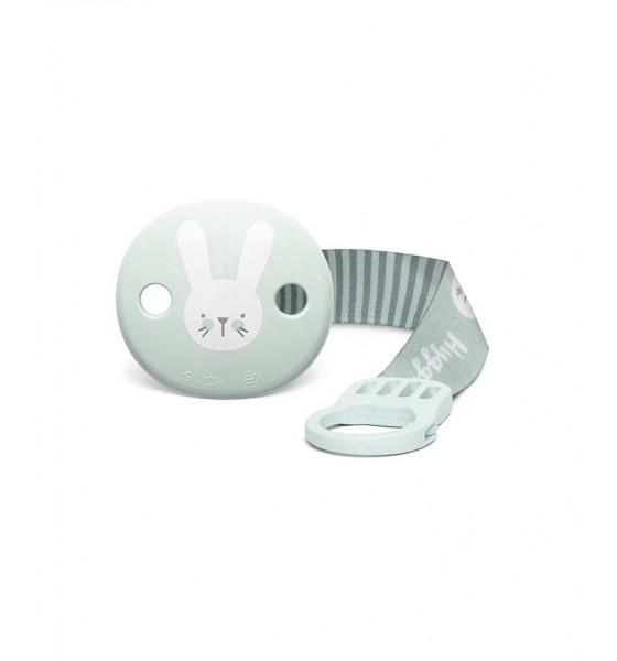 Suavinex klips do smoczka z tasiemką Hygge Baby królik miętowy