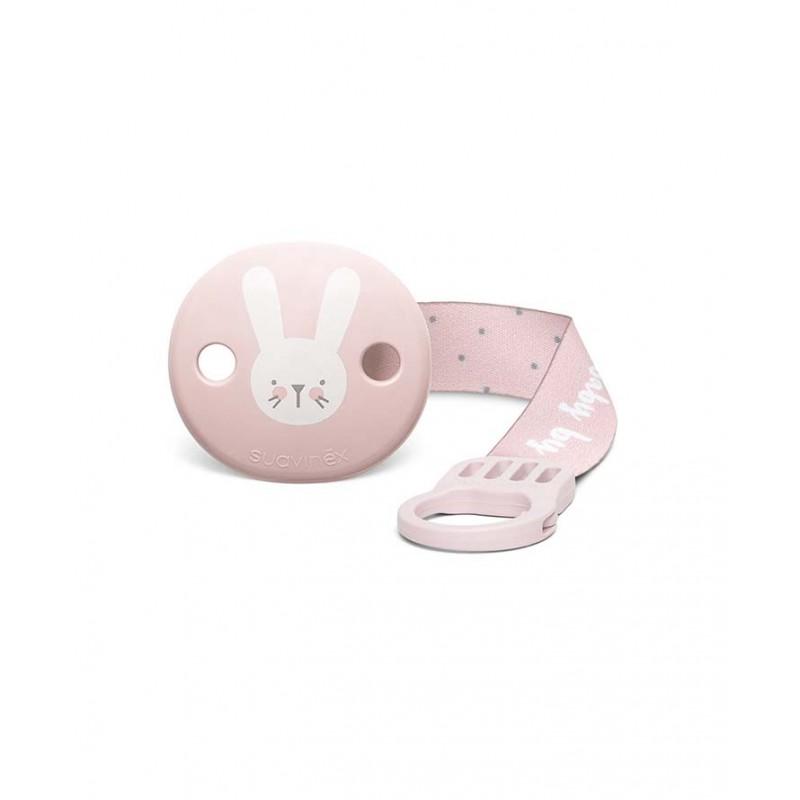 Suavinex klips do smoczka z tasiemką Hygge Baby królik różowy