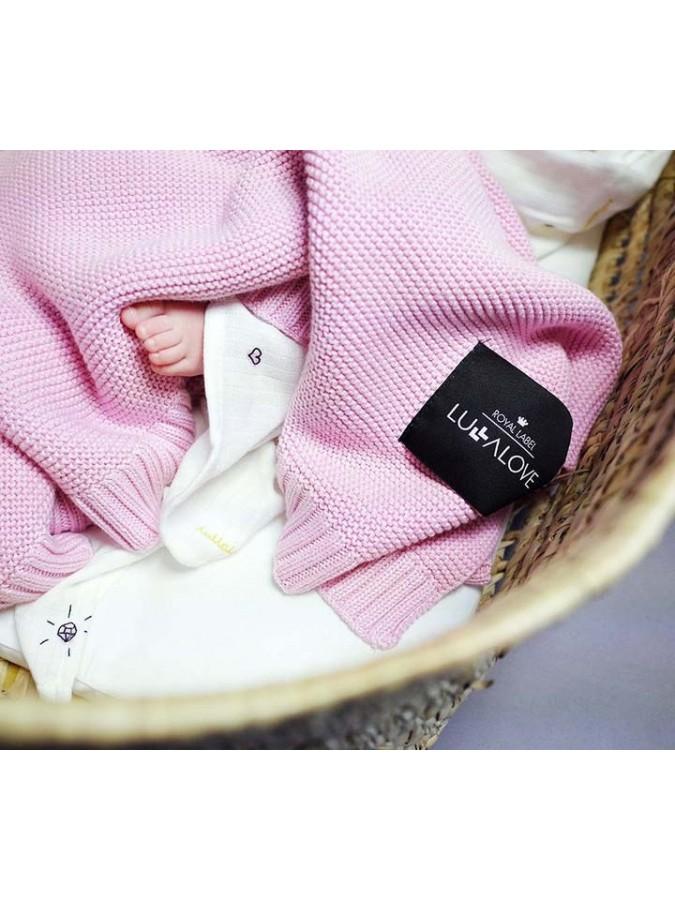 Lullalove bambusowy koc różowy splot klasyczny