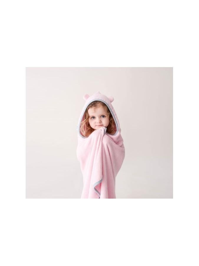 Lullalove bambusowy duży ręcznik z uszkami róż