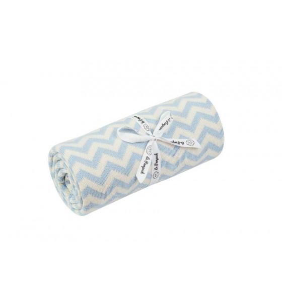 Le Pampuch kocyk bawełniany zygzag baby blue