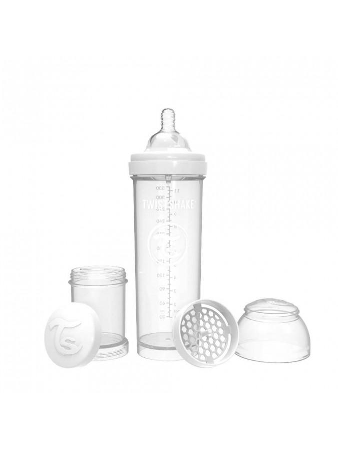 Twistshake butelka antykolkowa do karmienia 330 ml biała