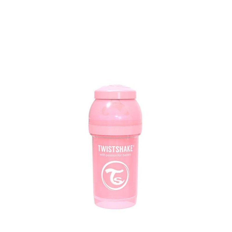 Twistshake butelka antykolkowa do karmienia 180 ml pastelowa różowa
