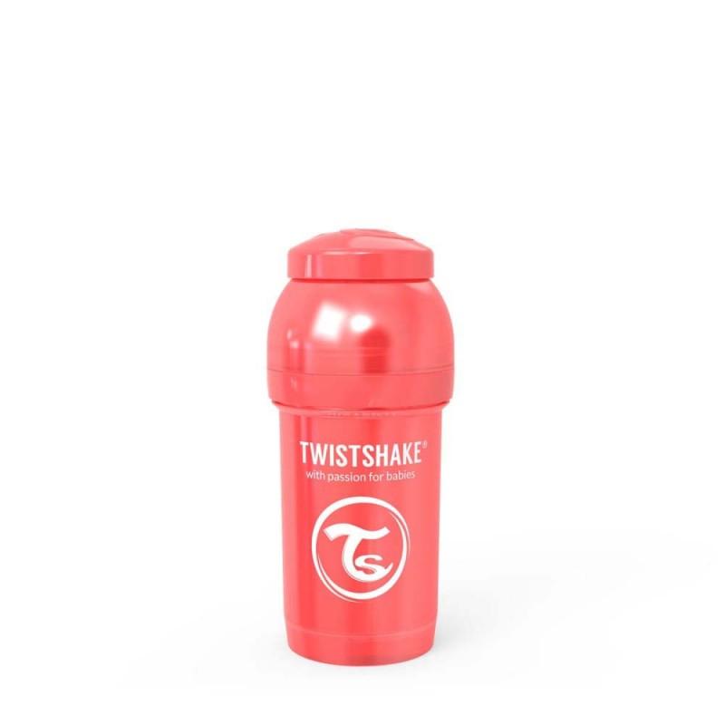 Twistshake butelka antykolkowa do karmienia 180 ml perłowa czerwona