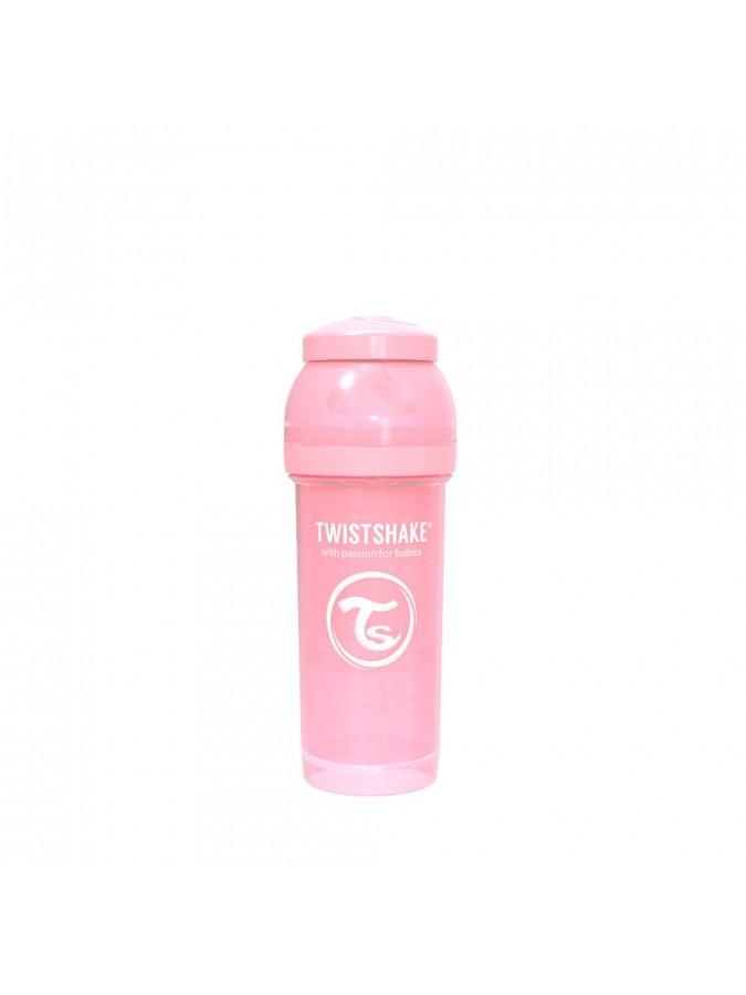 Twistshake butelka antykolkowa do karmienia 260 ml pastelowa różowa