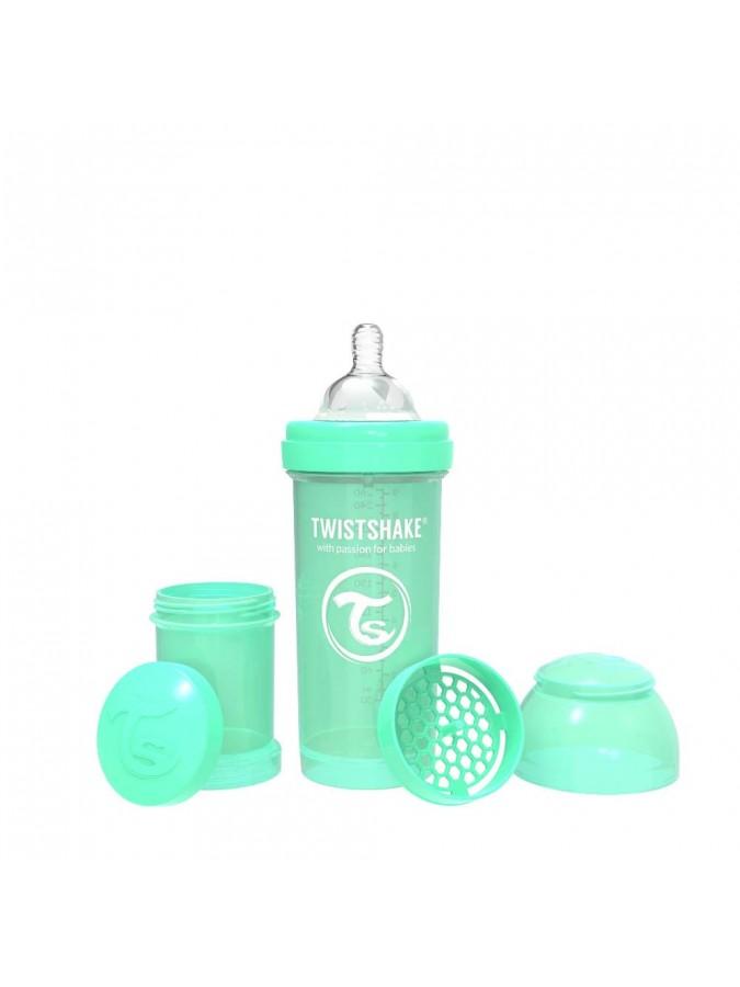 Twistshake butelka antykolkowa do karmienia 260 ml pastelowa zielona
