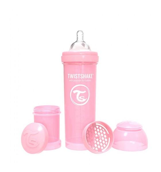 Twistshake butelka antykolkowa do karmienia 330 ml pastelowa różowa