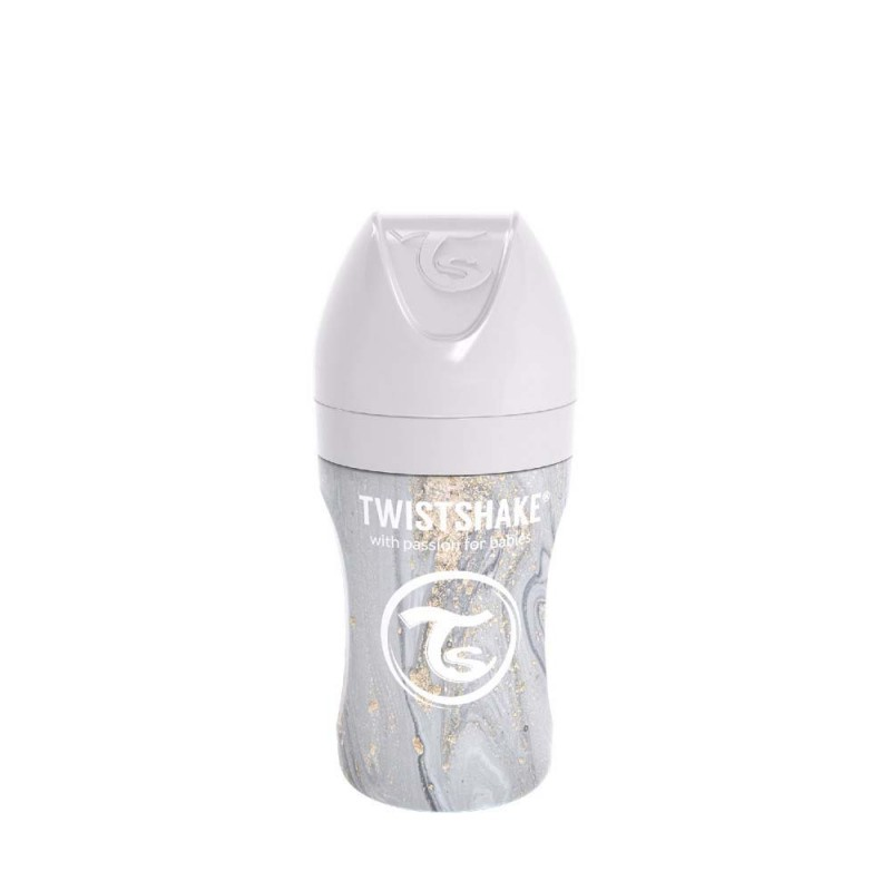 Twistshake butelka antykolkowa ze stali nierdzewnej 260 ml Marble Grey
