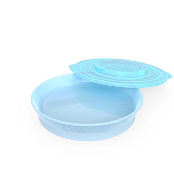Twistshake talerzyk z pokrywką niebieski