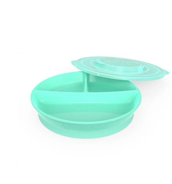 Twistshake talerzyk z przegródkami i pokrywką zielony