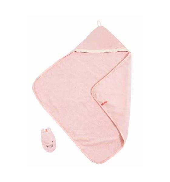 Moulin Roty ręcznik z kapturem i myjką różowy