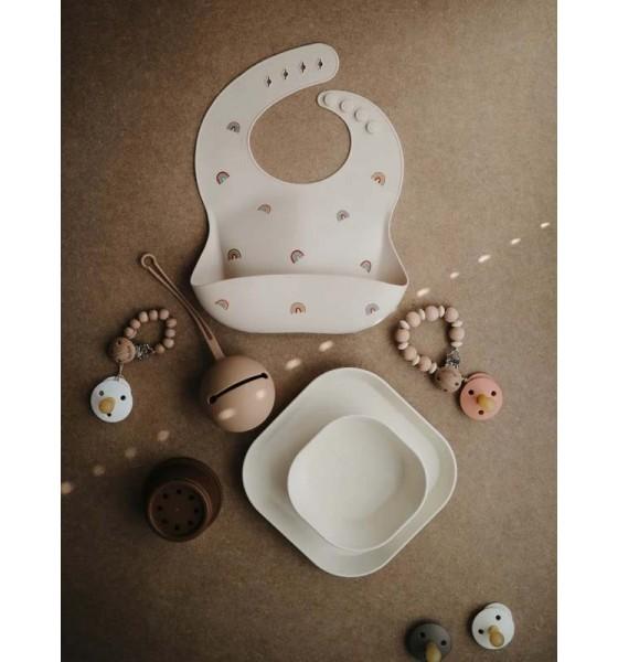 Mushie śliniak silikonowy Sea Shells Ivory