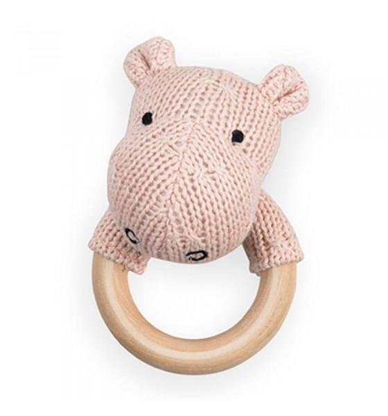 Jollein grzechotka z gryzakiem drewnianym Hippo Blush